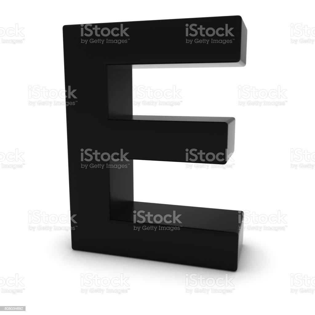 Black Capital E - 3D Letter E Isolated on white stock photo