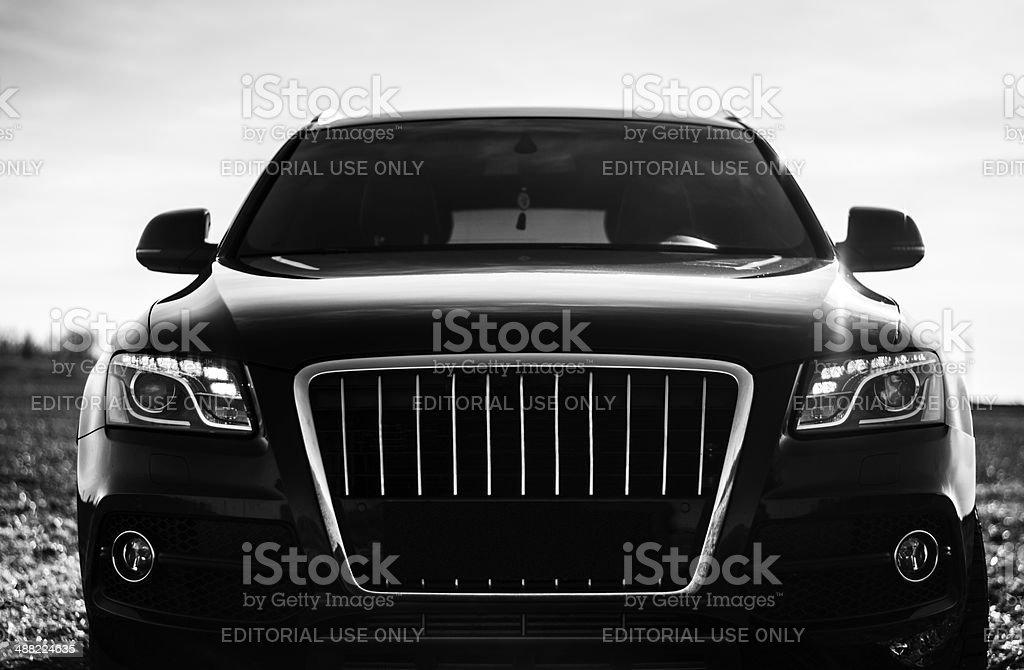 black car, Audi Q5 S-Line Kohtla-Jarve, Estonia - March 12, 2014: black Audi Q5 S-Line at field, close up image 4x4 Stock Photo
