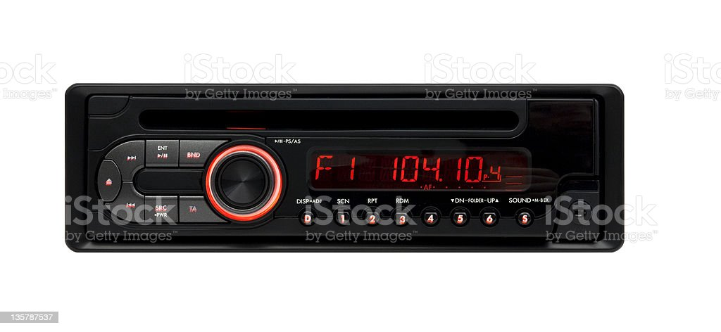 Black car audio CD-MP3-WMA-Player stock photo