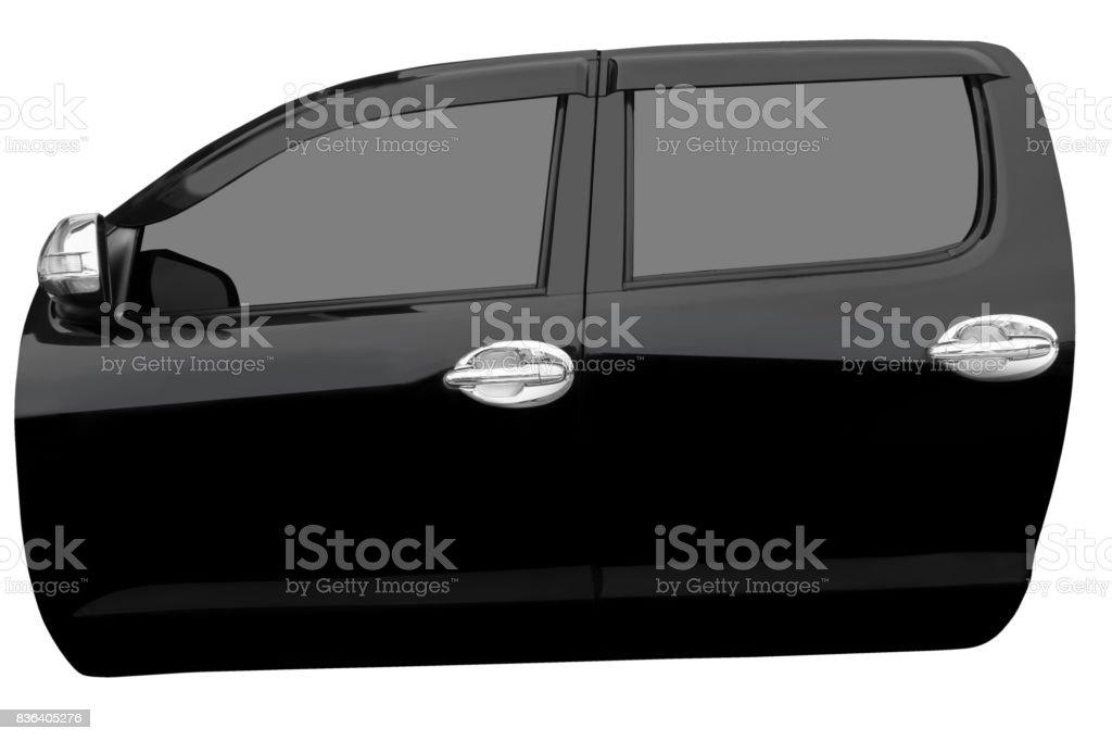 Puerta del coche negro aislada sobre fondo blanco con trazado de clip - foto de stock
