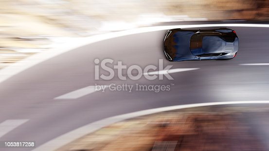 view from top of fast moving car, motion blur,  3D, car of my own design.
