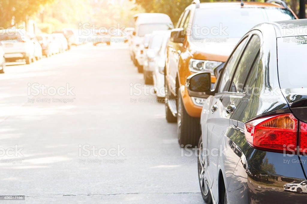 Black car parking in line – Foto