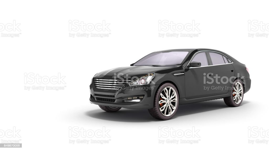 black car studio view 3d render on white background stock photo