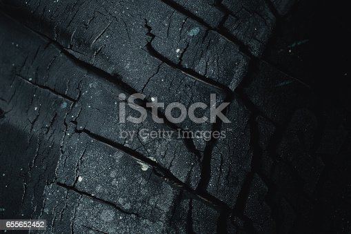 istock black carbon charcoal dry crack old tire dark color for background. 655652452