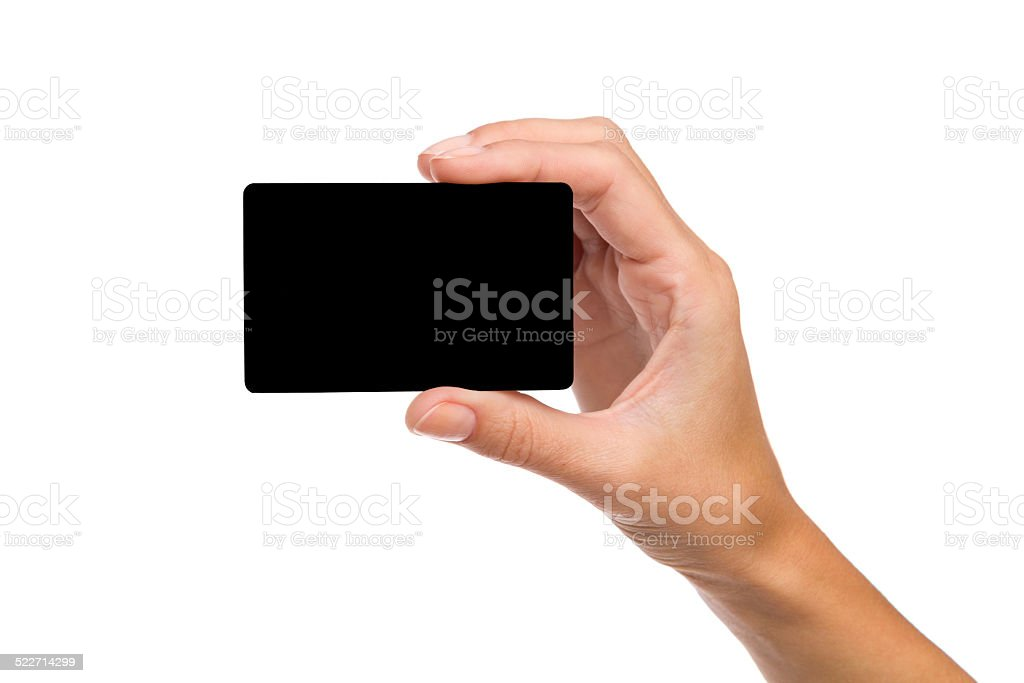 Black na mão da mulher. cartão - foto de acervo