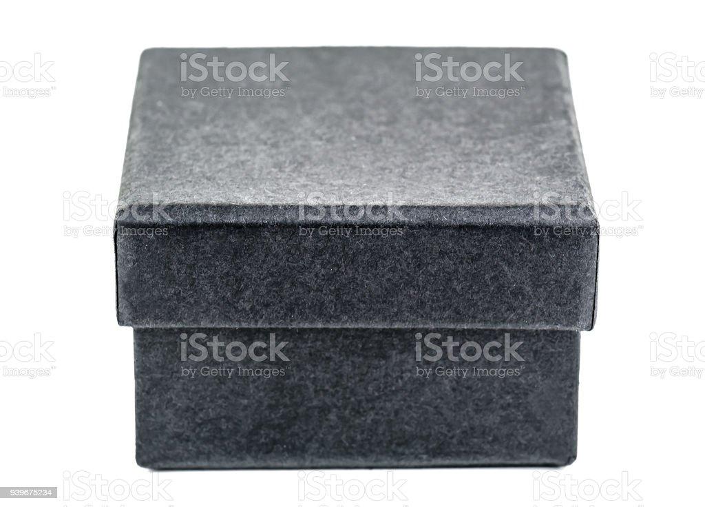 black cardboard box isolated stock photo