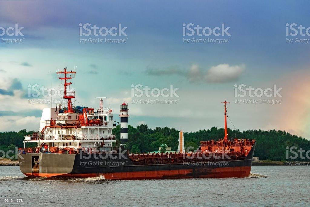 Black cargo ship royalty-free stock photo