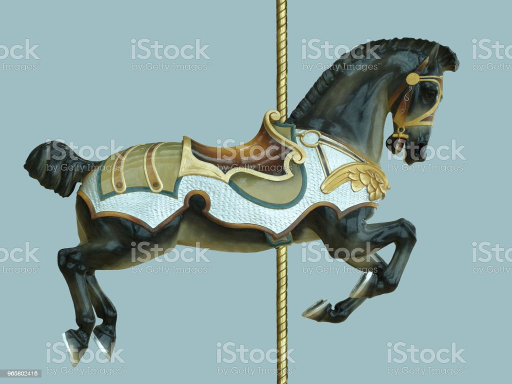 Black Carnival Carousel Horse Childhood Amusement Park Ride - Royalty-free Agricultural Fair Stock Photo