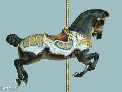 A dark black and brown carousel horse ride for children styled with antique retro styled medieval saddle and bridal and armor with gold, green and blue colors and a gold pole, isolated on a blue background.