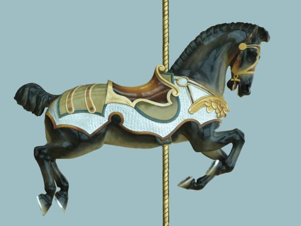 schwarz karneval karussell pferd kindheit vergnügungspark - karussell stock-fotos und bilder