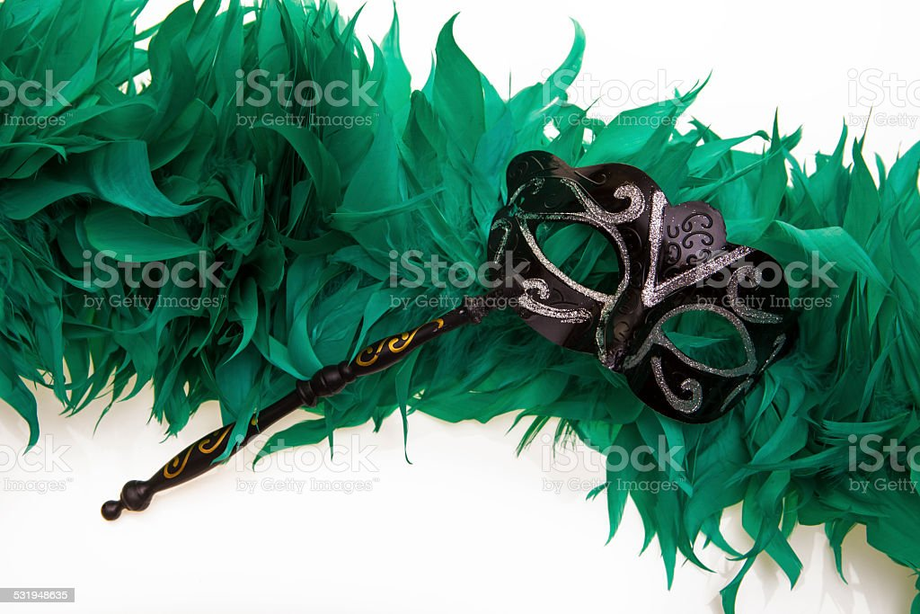 Black Carnival mask and feather boa stock photo