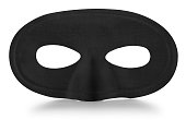 This is a straig on photograph of a black carnival mask isolated on a white background. There is a clipping path included if you want to isolate the mask from the shadow.