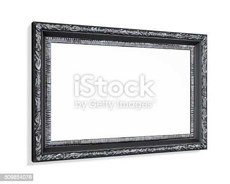 Black carved picture frame isolated on white background. 3d render.