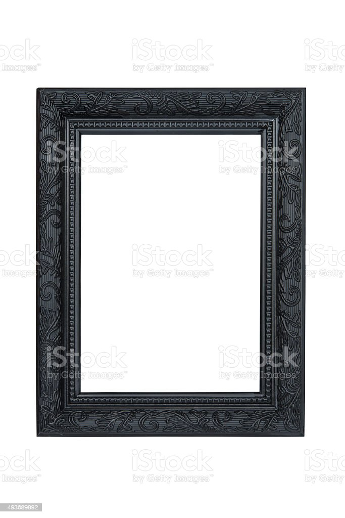 Black carved picture frame isolated on white background. stock photo