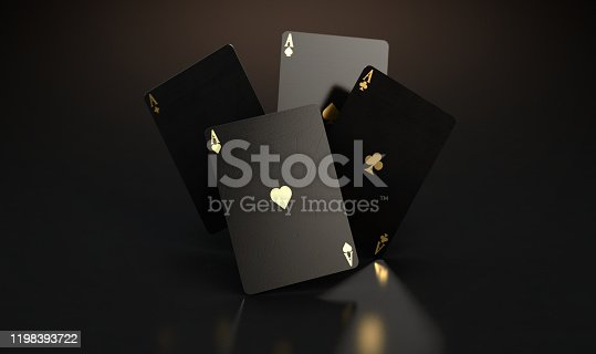 A set of four reflective black casino ace cards with gold markings floating in the air on a dark classy background - 3D render