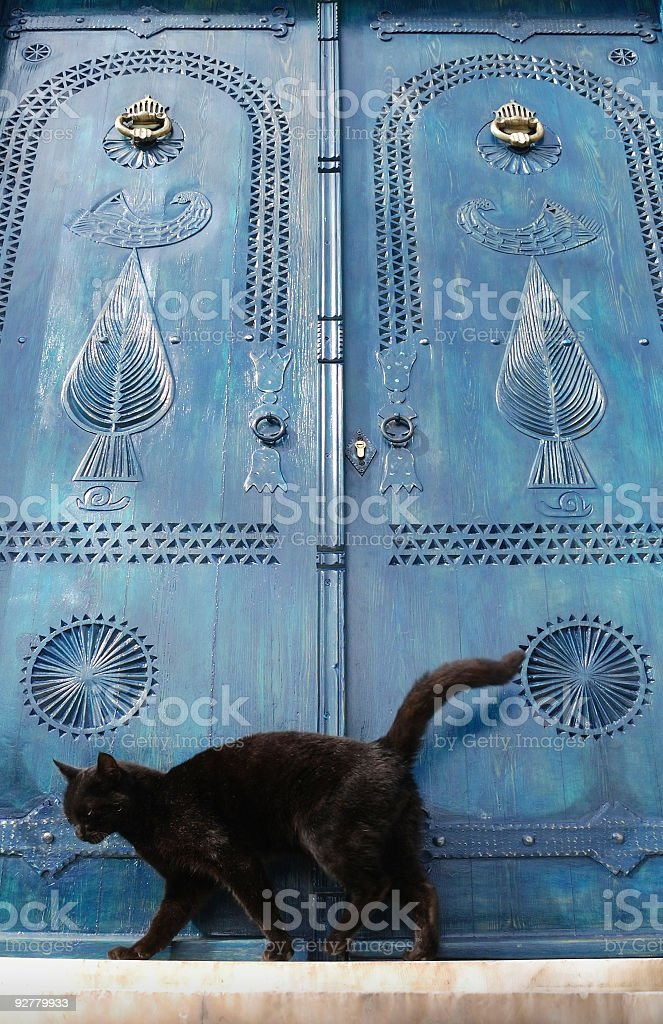 Black cat infront of Blue Door in Doganbey Village, Turkey royalty-free stock photo