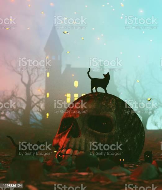 Black cat on skull in halloween night3d illustration picture id1176336124?b=1&k=6&m=1176336124&s=612x612&h=tm w9y sitgu294eengfanlvauuw6jgbdszabun7sgm=