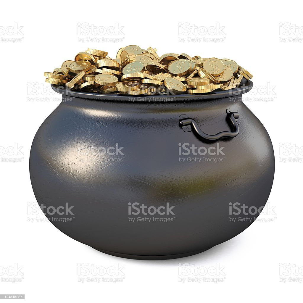 A black cauldron filled with gold royalty-free stock photo