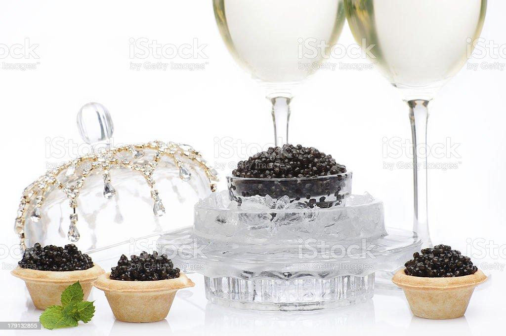 Black caviar and champagne stock photo