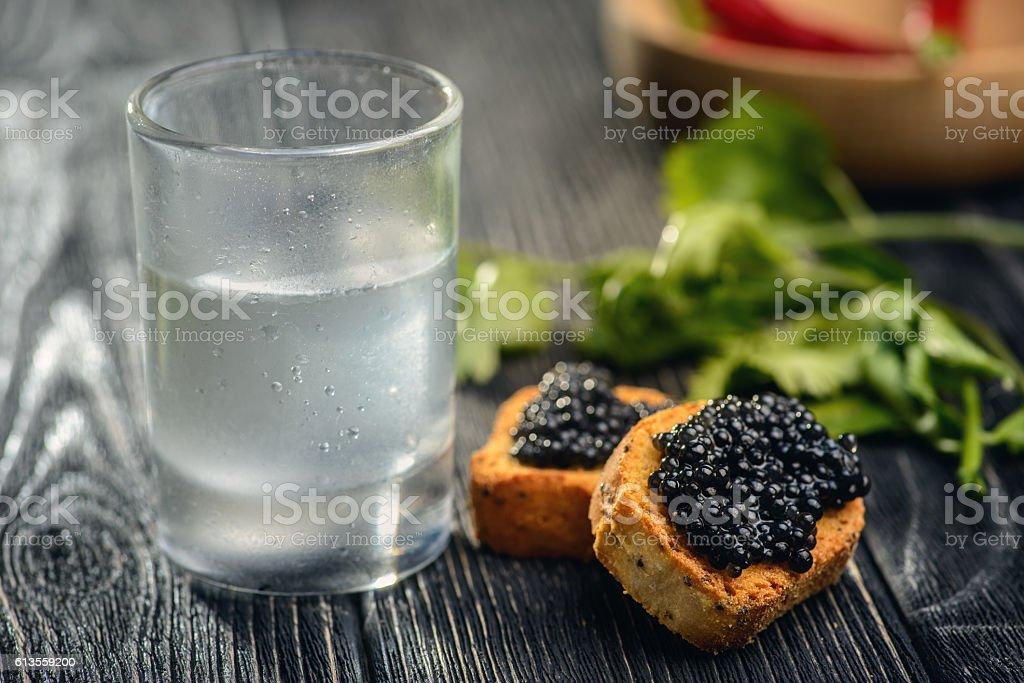 Black caviar and vodka stock photo