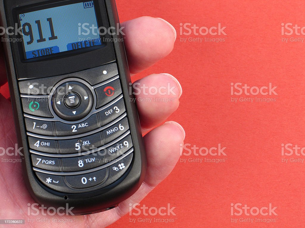 Black Cell Phone Dialed to a 911 Emergency Call stock photo