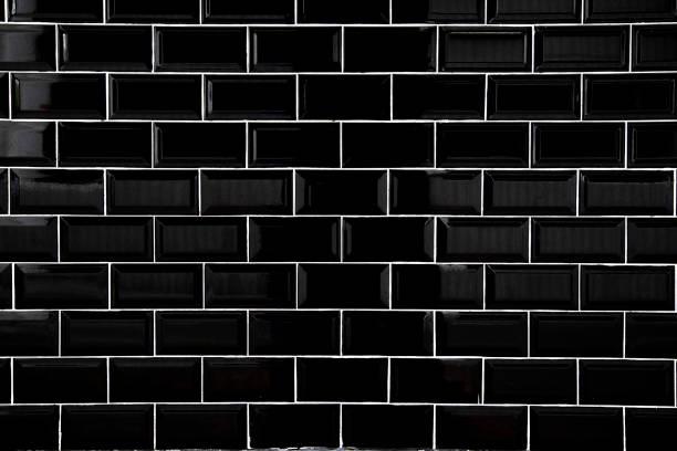 black ceramic tiles, wallpaper and background concept. - azulejo imagens e fotografias de stock