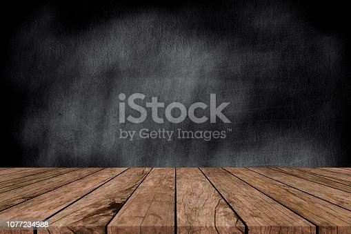 istock black chalk board background wall texture with old vintage aged old wood perspective for advertise product on display 1077234988