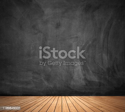 1077234988 istock photo Black chalk board background wall texture with old vintage aged old wood perspective for advertise product on display 1189845022