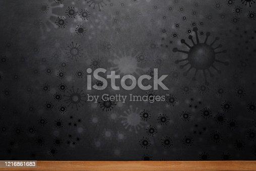 Abstract black chalkboard,  Coronavirus outbreak background.