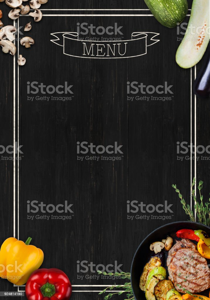 Black chalkboard as mockup for restaurant menu stock photo