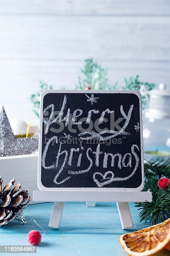 istock Black chalkboard with caption