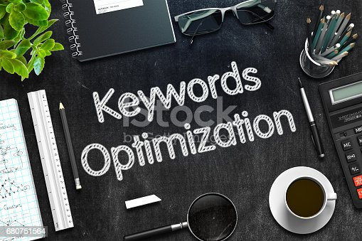 istock Black Chalkboard with Keywords Optimization. 3D Rendering 680751564
