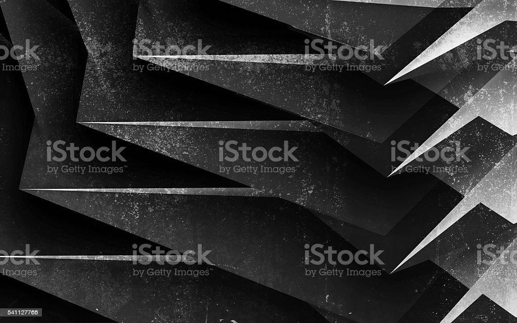 Black chaotic concrete structure, 3 d render stock photo