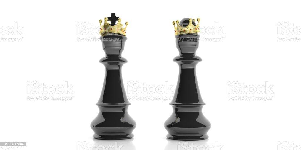Black chess king and queen with crowns on white background. 3d illustration stock photo