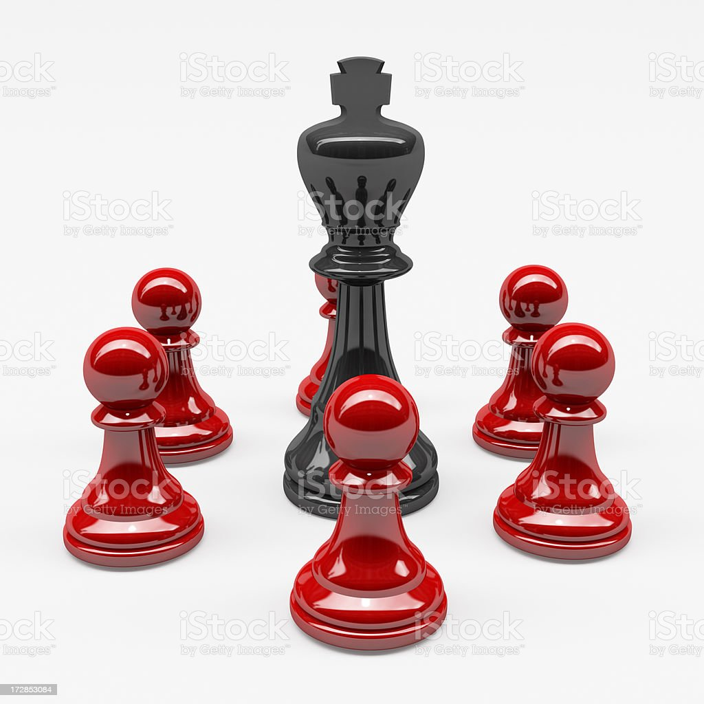 3D Black Chess King attack by Red Pawns stock photo