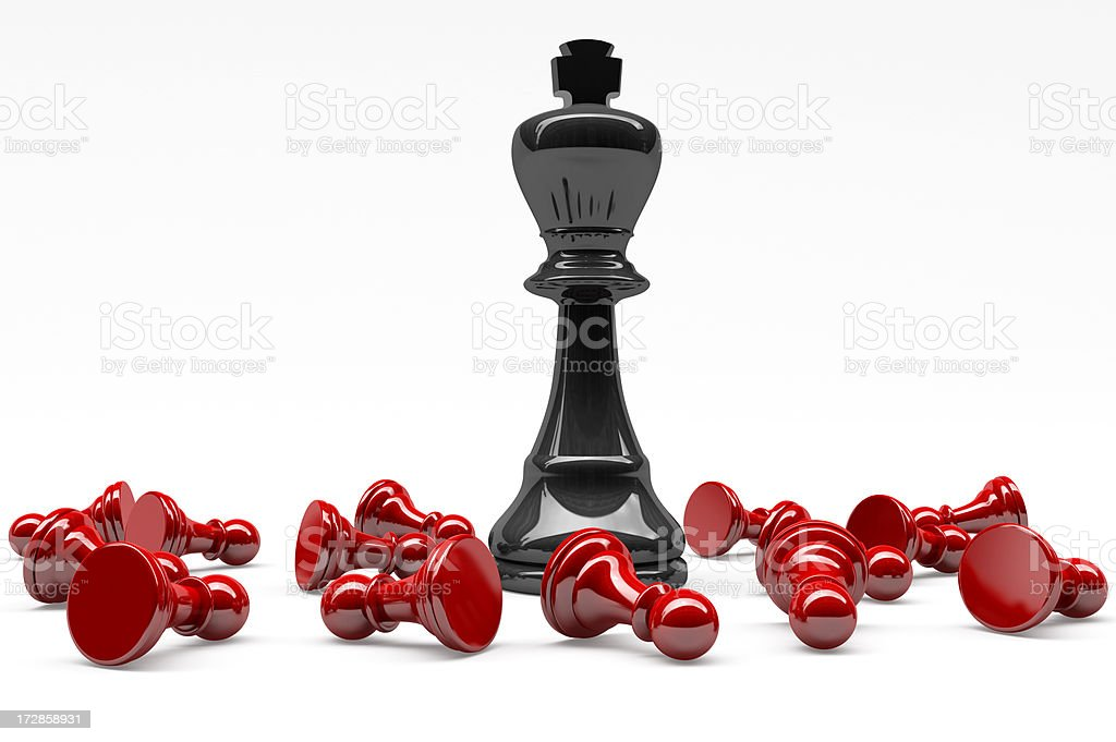 3D Black Chess King winning on Red Pawns stock photo