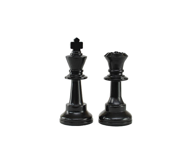 Black Chess Pieces Kind and Queen stock photo