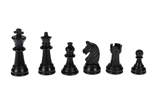 Black chess pieces. On a white background, isolated.s