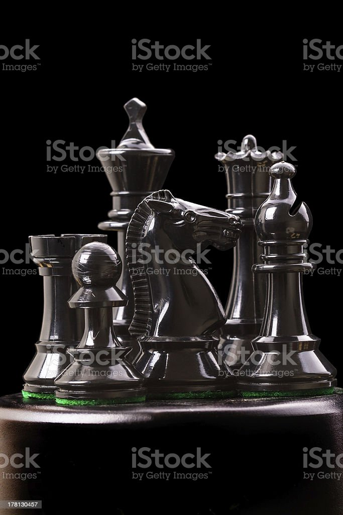 Black chess pieces_ royalty-free stock photo