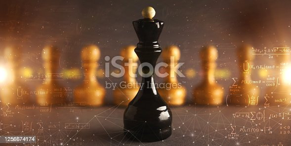 istock Black Chess Queen Standing Against Numerous Pawns, Gray Background, Collage 1256674174