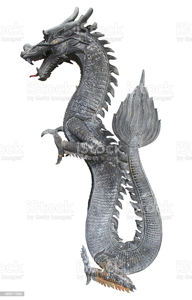 Black chinese dragon statue stock photo
