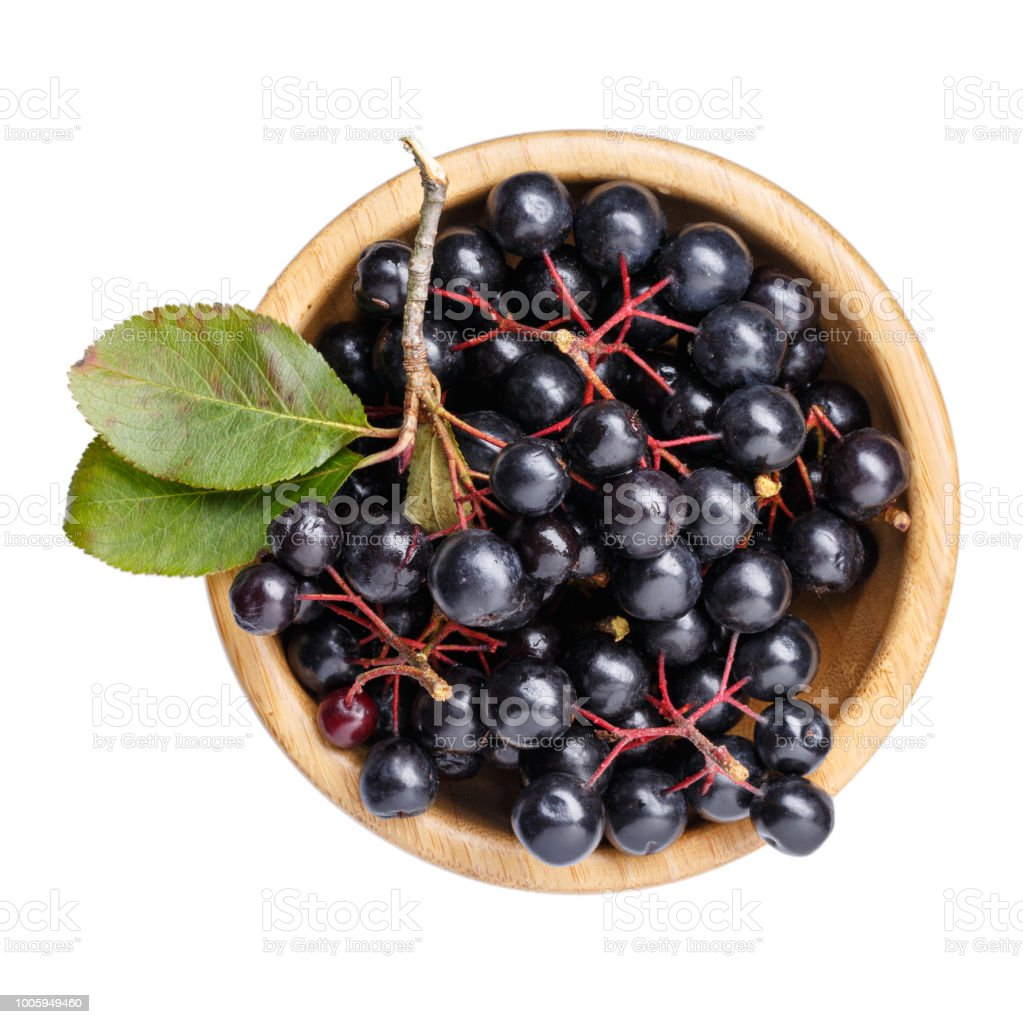 Black chokeberry berries ( Aronia melanocarpa ) in wooden bowl isolated on white. Top view. – zdjęcie