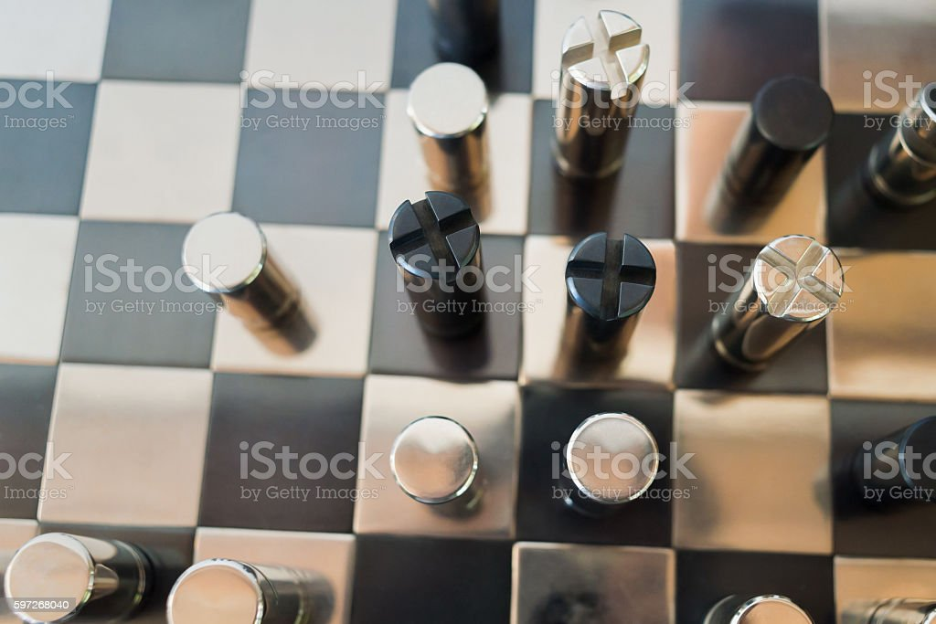 Black & chrome metallic chess photo libre de droits