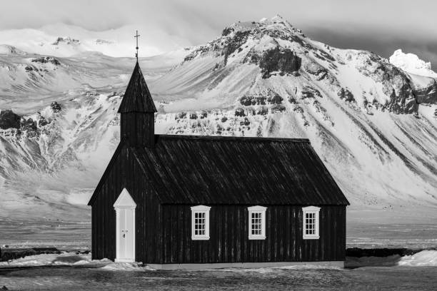 Black Church Iceland stock photo