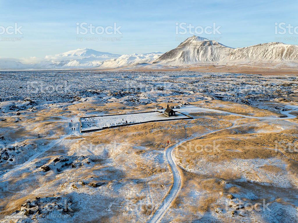 Black Church in Iceland stock photo