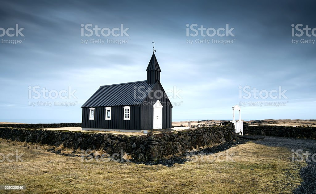 Black church of Budir, Iceland royalty-free stock photo