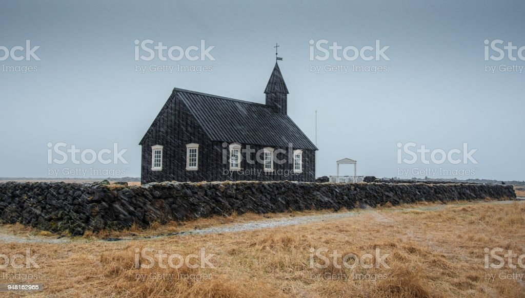 Black church of Budir, Iceland stock photo