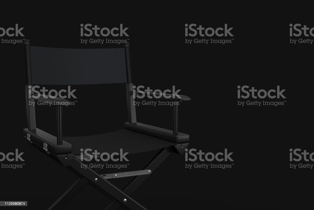 Black Cinema Director Chair on a black background. 3d Rendering
