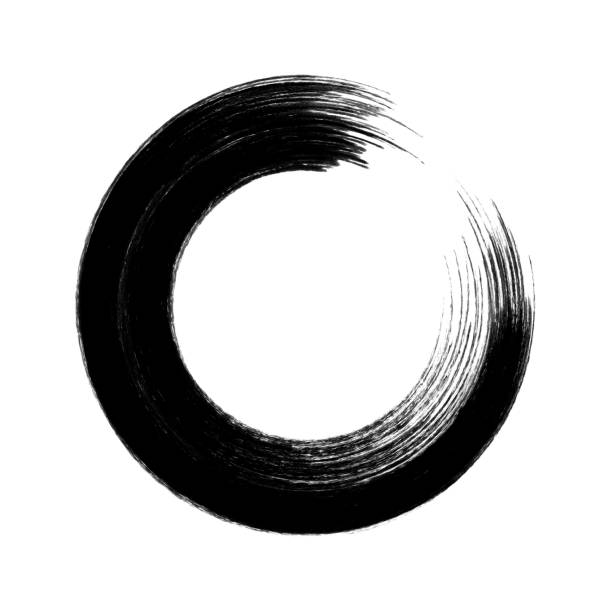 black circle brush stroke frame isolated on white background - rubber stamp texture stock photos and pictures