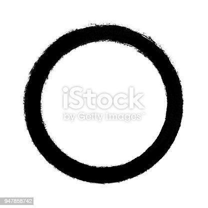 istock Black circle brush stroke frame isolated on white background 947858742